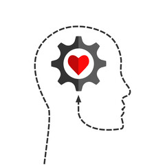 Human head silhouette made of dotted line with gear and heart shape inside as positive thinking, inspiration, mental health or emotional intelligence concept