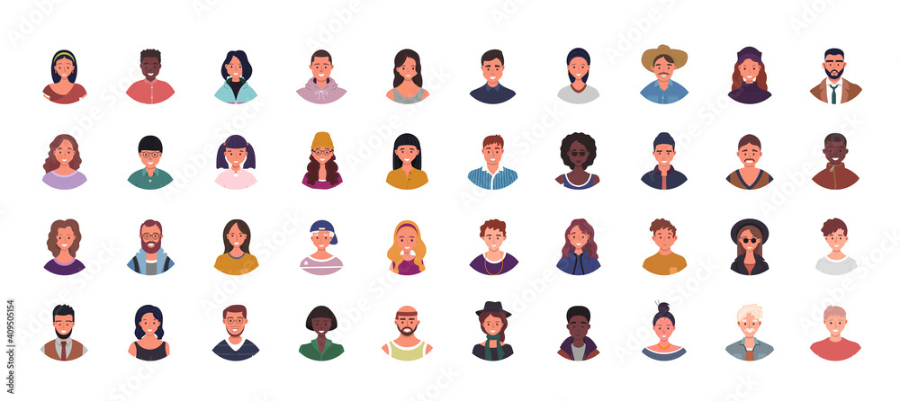 Fototapeta Set of various people avatars vector illustration. Multiethnic user portraits. Different human face icons. Male and female characters. Smiling men and women.