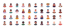 Set Of Various People Avatars Vector Illustration. Multiethnic User Portraits. Different Human Face Icons. Male And Female Characters. Smiling Men And Women.