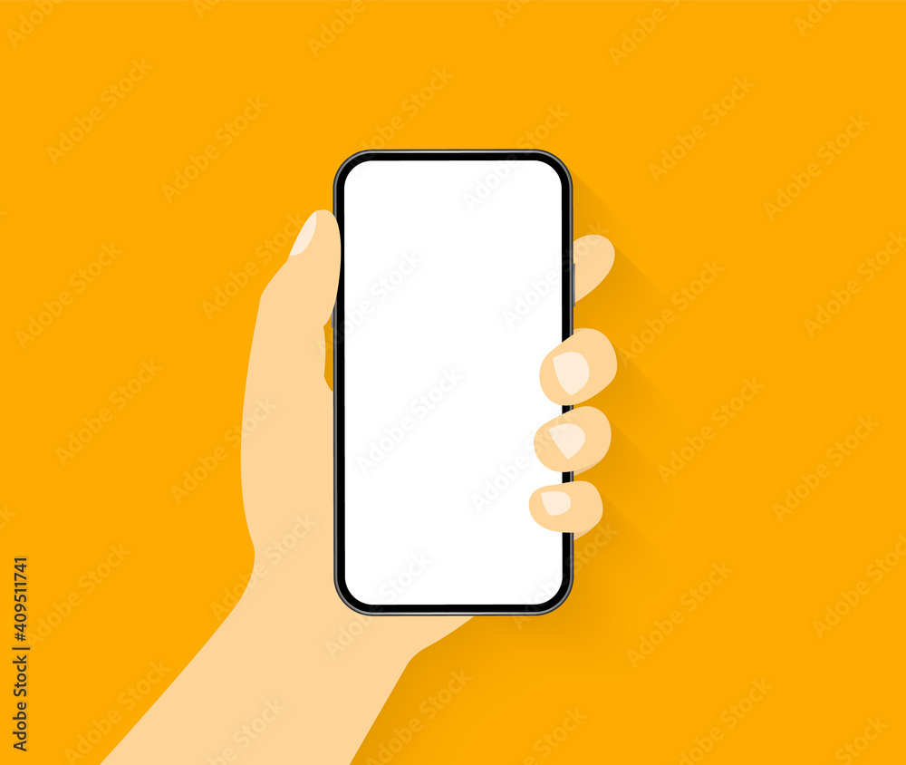 Fototapeta Mobile phone in hand. Hand holding a smartphone. Phone with blank screen. Vector illustration.