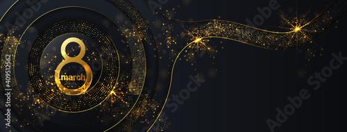 Obraz 8 march women's day background greeting card. International ladies holiday design template. Golden glitter on dark background. - fototapety do salonu