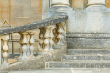 Stone Steps And Columns Outside A Manor House, UK