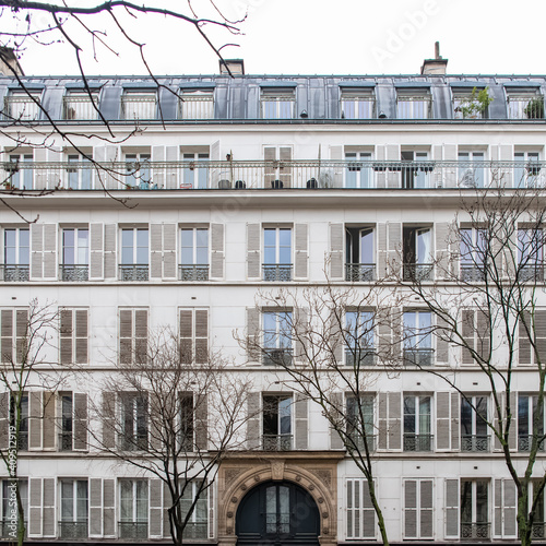 Fototapeta Paris, typical facade and windows, beautiful building boulevard Richard-Lenoir i