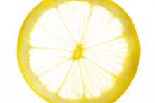 The Lemon Slice Is Transparent On A White Background. Closeup