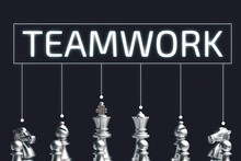 Teamwork Concept In The Form Of Chess Pieces