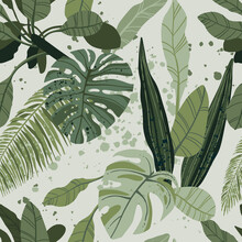Seamless Tropical Pattern With Exotic Palm Leaves And Various Plants On Light Background.