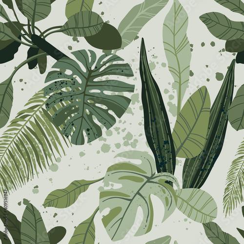 Tapety Tropikalne  tropikalny-wzor-z-egzotycznych-lisci-palmowych-i-roznych-roslin-na-jasnym-tle