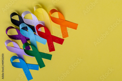 Stampa su Tela colorful ribbons from disease prevention campaigns