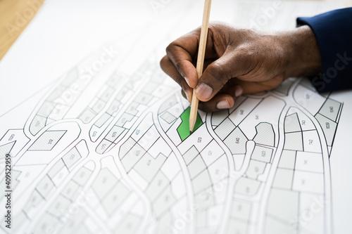 Obraz Land Map And Urban Building Project Plan - fototapety do salonu