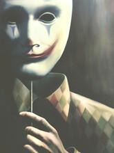 3d Illustration Of Creepy Clown Mask, Surreal Concept