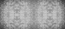 Old Gray Vintage Shabby Damask Floral Flower Patchwork Tiles Stone Concrete Cement Wallwallpaer Texture Background Banner