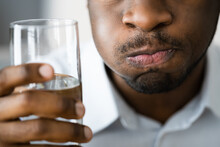 Water Mouth Gargle And Rinse. African American Man