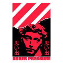 """Torn Paper Effect Statue With Japanese Slogan With Manga Face Translation: """"Memories."""" Vector Design For T-shirt Graphics, Banner, Fashion Prints, Slogan Tees, Stickers, Flyer, Posters"""