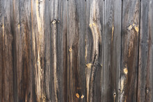 Old Weathered Wooden Wall Background, Silver-gray With Knotholes And Figure