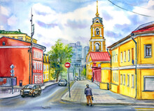 City Landscape With A Monastery, Houses And Cars. Landscape Of Moscow Street. Watercolor Illustration, Print For Poster, Cover, Book Illustration And Other Designs.
