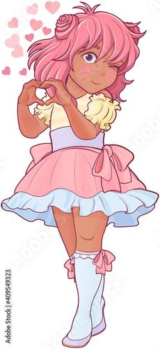 Kawaii Girl Showing Heart Shape Gesture #409549323