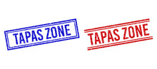 TAPAS ZONE Rubber Imprints With Grunge Texture. Vectors Designed With Double Lines, In Blue And Red Colors. Label Placed Inside Double Rectangle Frame And Parallel Lines.