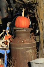 Halloween Pumpkin On An Old Rusty Milk Can Out In The Country Shot Closeup South Of Lyons Kansas USA.