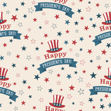Presidents Day Seamless Pattern With Hat Of Uncle Sam And Stars On Beige Background. Washingtons Birthday