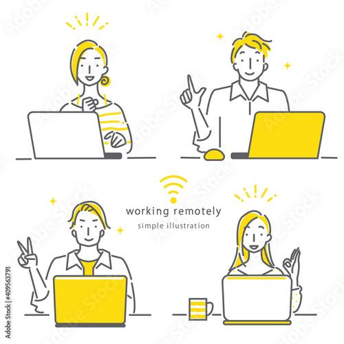 テレワークで働く人々のシンプルでおしゃれな線画イラスト素材 満足 笑顔 楽しい Fototapeta