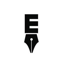 Letter E Pen Logo Icon Design