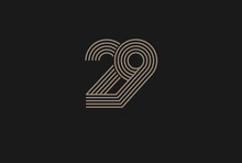 Number 29 Logo, Monogram Number 29 Logo Multi Line Style, Usable For Anniversary And Business Logos, Flat Design Logo Template, Vector Illustration
