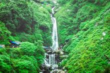 Majestic Landscape Of Bhagsu Nag Waterfall And Green Forest Around At Mcleodganj, Himachal Pradesh, India.