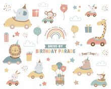 Collection Of Drive-by Birthday Parade Theme Illustrations. Cute Animals In A Car, Rainbow And Clouds, Balloons, Gift Boxes, And Stars.