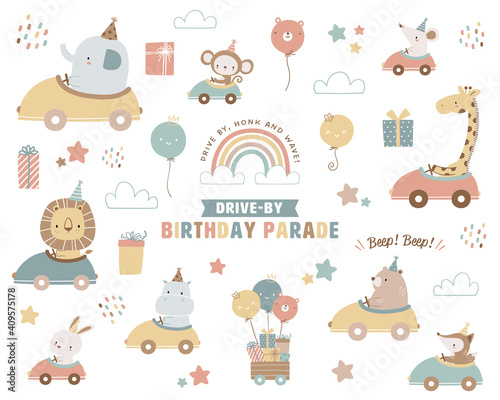 Collection of drive-by birthday parade theme illustrations Fototapet