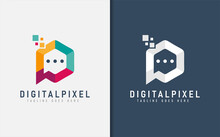 Digital Initial Letter P, Abstract Creative Logo Design. Usable For Business, Community, Foundations, Tech, Services Company. Vector Logo Design Illustration.