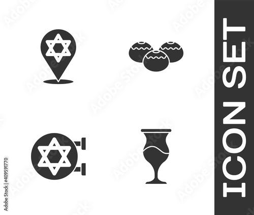 Obraz na płótnie Set Jewish goblet, Star of David, synagogue and sweet bakery icon