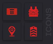 Set Chevron, Dynamite Bomb, Bulletproof Vest And Target Sport Icon. Vector.