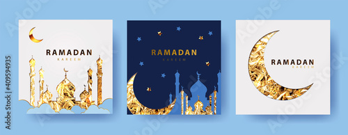 Tablou Canvas Ramadan kareem  vector Set of greeting cards, posters, holiday covers