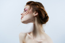 Attractive Woman Bright Makeup Naked Shoulders Decoration Glamor Close-up