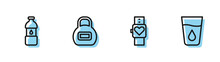 Set Line Smart Watch, Bottle Of Water, Kettlebell And Glass With Icon. Vector.