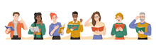 People Reading Books Different Emotions Of Surprise And Interest, Shock And Empathize. Vector Multi Ethnic Man And Woman With Novels Or Poetry In Hands, Feelings Of Flat Cartoon Characters, Literature