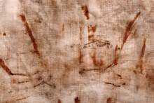 The Texture Of An Old Linen Cloth, Covered With Dirt And Rust. Background Grange. The Rusty Fabric Is Streaked.