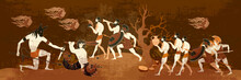 Ancient Greece Battle Scene. Greek Vase Painting Concept. Meander Circle Style. Red Figure Techniques. Mythology And Legends. Spartan Warrior