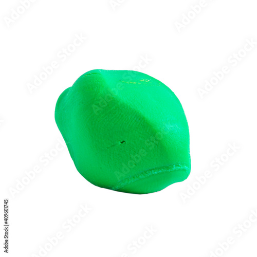 Fotografija Green Plasticine ball isolated on the white background