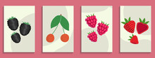 Pastel Colors Poster. Abstract Still Life. Hand Drawn Cherry, Raspberry, Blackberry, Strawberry. Abstract Berries For Social Media, Postcards And All Print.