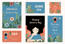 Collection Of International Woman's Day With Flower.Editable Vector Illustration For Website, Invitation,postcard And Banner