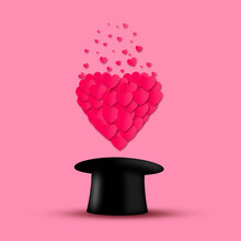 Red Hearts Fly Out Of The Top Hat, On A Pink Background. Valentine's Day Background. F
