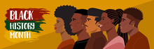 Black History Month, Portrait Of Young African American Hairstyles. Vector