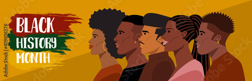Obraz Black history month, Portrait of Young African American Hairstyles. Vector - fototapety do salonu