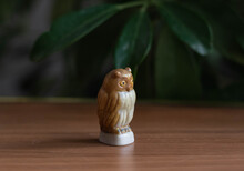 Small Owl Figurine, Porcelain On Wooden Table With Plants