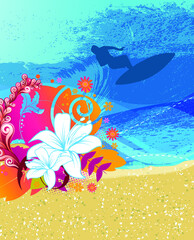 Fototapeta na wymiar Summer illustration vector, Space for your text. EPS 10