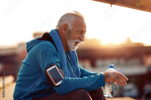 Canvas Senior man after training