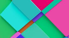 Multicolored Tech Background, With A Geometric 3D Structure. Clean, Vibrant Design With Simple, Bright, Modern Forms. 3D Render