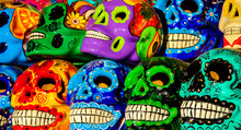 Calacas, Wooden Skull Day Of The Dead Masks On Market In Cabo San Lucas, Mexico