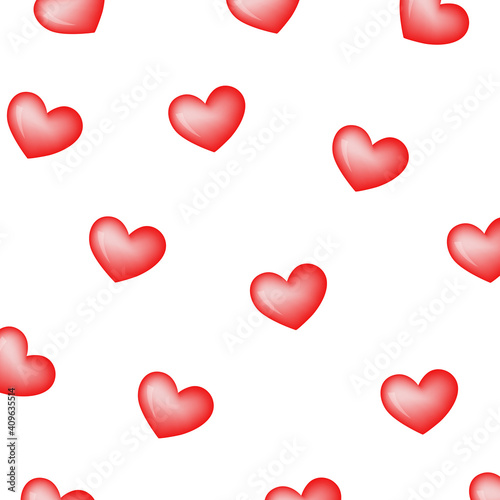 Fotografia color vector simple illustration of hearts simple pattern on white